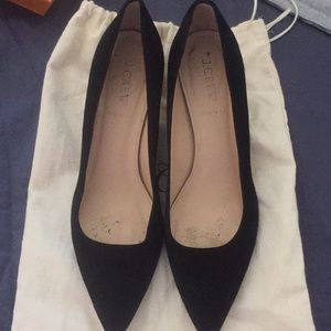 Jcrew kitten heels/ black suede/ worn
